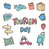 Vector Illustration For World Tourism Day. Travel And Tourism Background. Colorful Template With Sui poster