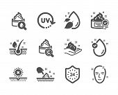 Set Of Beauty Icons, Such As No Sun, Skin Moisture, Skin Care, Vitamin E, Serum Oil, Uv Protection,  poster
