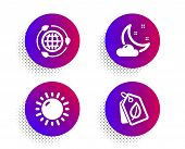 Night Weather, Sunny Weather And Eco Energy Icons Simple Set. Halftone Dots Button. Bio Tags Sign. S poster