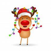 Cheerful Reindeer Celebrating Christmas. Cute Cartoon Deer With Fairy Lights On Antlers. Christmas C poster