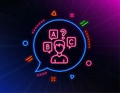 Quiz Test Line Icon. Neon Laser Lights. Select Answer Sign. Business Interview Symbol. Glow Laser Sp poster