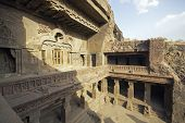 foto of ellora  - Facade of ancient rock carved Buddhist temple  - JPG