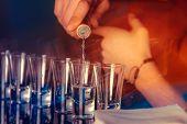 Shots For Vodka In A Nightclub. Dark Party Photo poster