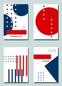 Four Trendy Covers With Graphic Elements - Abstract Minimalism Elegant Shapes. Two Modern Vector Fly poster