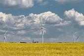Wind Farm In A Field Of Green Rye Wind Farm In The Background Of Thunderclouds In A Wheat Field. Dev poster
