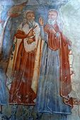 Ancient fresco, murals in Ghelinta, Romania