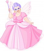 Smiling Fairy Godmother holding magic wand