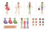 Cartoon Young Woman Characters Animation Set Or Diy Kit. Female Body Parts, Faces With Different Emo poster