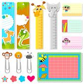 illustration of set of school stationery in animal theme