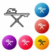 Black Line Electric Iron And Ironing Board Icon Isolated On White Background. Steam Iron. Set Icons  poster