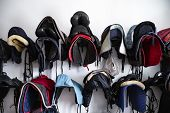Riding Saddle. Horse Farm, Riding Equipment. Riders Gear. poster