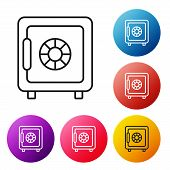 Black Line Safe Icon On White Background. The Door Safe A Bank Vault With A Combination Lock. Reliab poster
