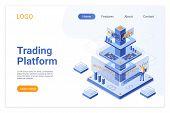 Trading Platform Isometric Landing Page Template. Online Financial Market Analytics. Digital Stock E poster