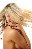 Fashion Happy Potrait Of Blonde Model Flicking Hair