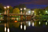 Lagoon Bridge at the Boston Public Gardens in Boston, Massachusetts.