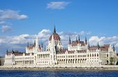 Budapest: the Hungarian Parliament Building was built in neo-Gothic and the main facade faces the Ri