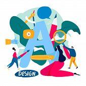 Design Studio, Designing, Drawing, Graphic Design, Art, Creative Ideas, Typography, Education Flat V poster