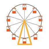 The Wheel Is In The Amusement Park. Slow Attraction To Explore The City.amusement Park Single Icon I poster