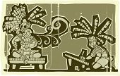 picture of scribes  - Woodblock Mayan king speaking and scribe writing - JPG