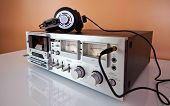 Vintage Stereo Cassette tape deck recorder or player with headphones