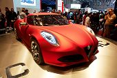 GENEVA - MARCH 8: The Alfa Romeo 4C on display at the 81st International Motor Show Palexpo-Geneva o