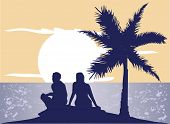 foto of marriage proposal  - vector romantic couple watching sunset at the sea - JPG