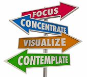 Focus Concentrate Visualize Contemplate Arrow Words 3d Illustration poster