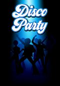 Silhouette Illustration Of Young Energetic Couples Disco Dancing On The Floor, Party, Lifestyle Them poster