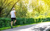 Active Middle Aged Man Jogging In Public Park In Sunny Day poster