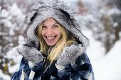 Winter Woman Wearing Stylish Wear. Winter Fashion Concept. Model Girl In Fur Hat And Jacket In Winte poster