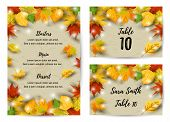 Wedding Menu Card Set With Falling Leaves. Autumn Background Vector Illustration. Place For Text. Gr poster