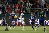 CARSON, CA. - APRIL 30: New England Revolution M Benny Feilhaber #22 in action during the MLS game o