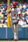 LOS ANGELES - JUNE 13: Angels SS #2 Erick Aybar fixes his glasses during the Angels vs. Dodgers game