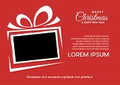 Christmas And Background With Photo, Blank Frame. Vector Template With Picture To Insert: Poster And poster