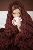 Happy Young Woman In Bathrobe Sitting On Bed Wrapped In Big And Fluffy Brown Plaid. Beautiful Girl I poster