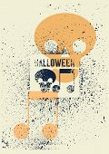 Halloween Party Typographical Vintage Stencil Spray Grunge Style Poster. Retro Vector Illustration. poster