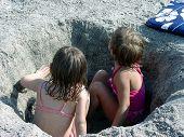 Sisters At Beach