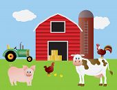 Farm With Red Barn Tractor And Animals