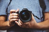 Close Up Of Man Hands Holding Dslr Camera - Man Photograph With Camera poster