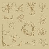 Doodle Writing Of Vintage Physical Equations And Formulas, Chalk Drawing. Education And Scientific S poster