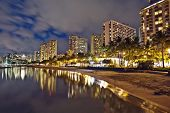 Waikiki Beach, Oahu Island Hawaii, Cityscape Sunset