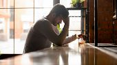 Depressed Upset Man Drinker Addicted To Alcohol Drink Whiskey Alone poster
