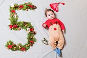 The Child Is Five Months Old. 5 Months Old Cute Baby Portrait. 5 Digit Offspring. Happy Baby Boy, Sm poster