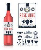 Vector Vintage Rose Wine Label And Wine Bottle Mockup poster