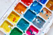 Bright Watercolor Paints On Light Background. Watercolor Background. Bright Watercolor Palette poster