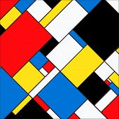 Colorful And Bright Background With Blocks In Mondrian Style. Vector Illustration For Your Graphic D poster