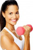 Beautiful latino woman do toning exercises with dumbbells in studio, isolated