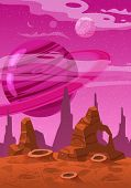Fantasy Concept Space Cartoon Game Background. Fantastic Sci-fi Alien Planet Landscape For A Space A poster