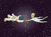 Sketch Of Astronaut And Alien. Doodle Cute Scene About First Contact. Hand Drawn Cartoon Vector Illu poster