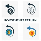 Investments Return Outline Icon. Thin Line Element From Crowdfunding Icons Collection. Ui And Ux. Pi poster
